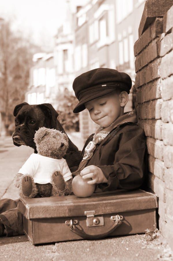 Uitstekende jongen in sepia stock foto