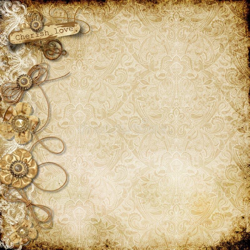 Uitstekende kaart als achtergrond met sjofele document bloemen royalty-vrije illustratie