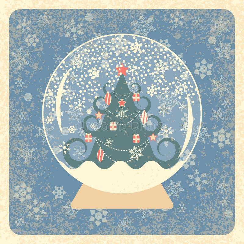 Uitstekende kaart Kristalsneeuwbal Verfraaide Kerstboom De achtergrond van sneeuwvlokken De textuur van Grunge Ivoorelementen, ge stock illustratie
