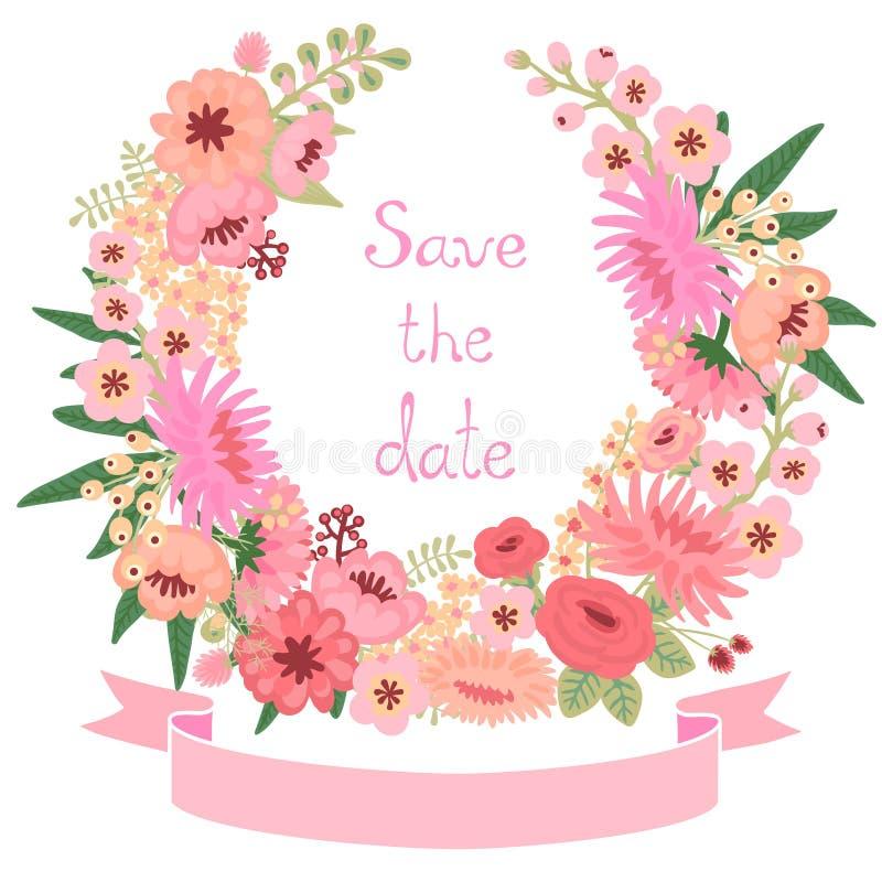 Uitstekende kaart met bloemenkroon. Sparen de datum. stock illustratie