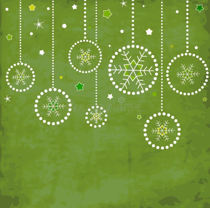 Uitstekende kaart met de ballen van Kerstmis stock illustratie