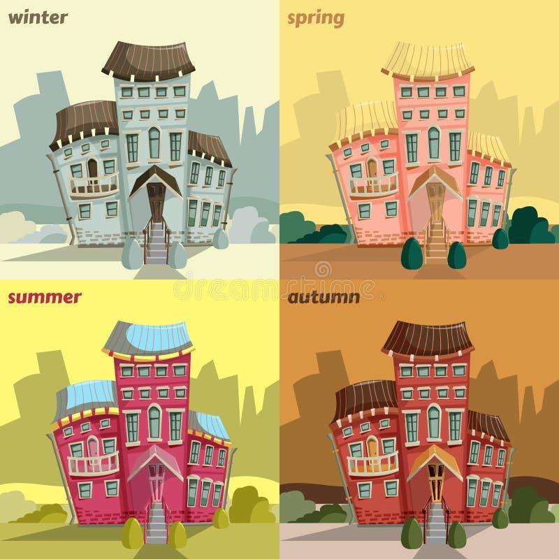 Uitstekende kaart met zoete beeldverhaalhuizen en installaties in seizoenen De voorgevels van het stadshuis royalty-vrije illustratie