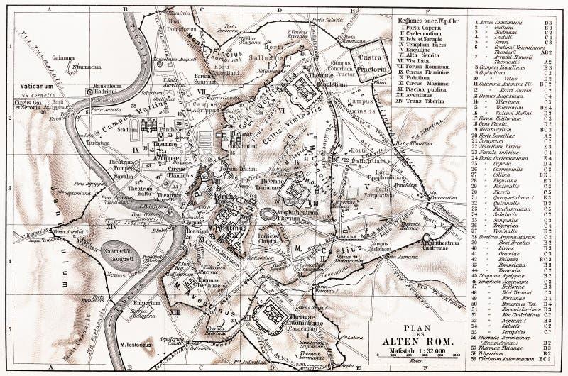 Uitstekende kaart van Oud Rome stock foto