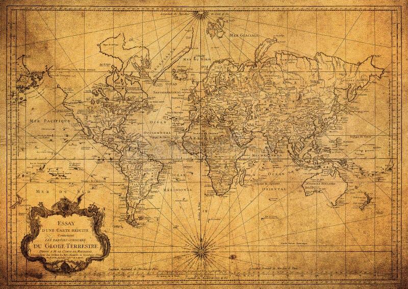 Uitstekende kaart van wereld 1778 royalty-vrije stock foto's