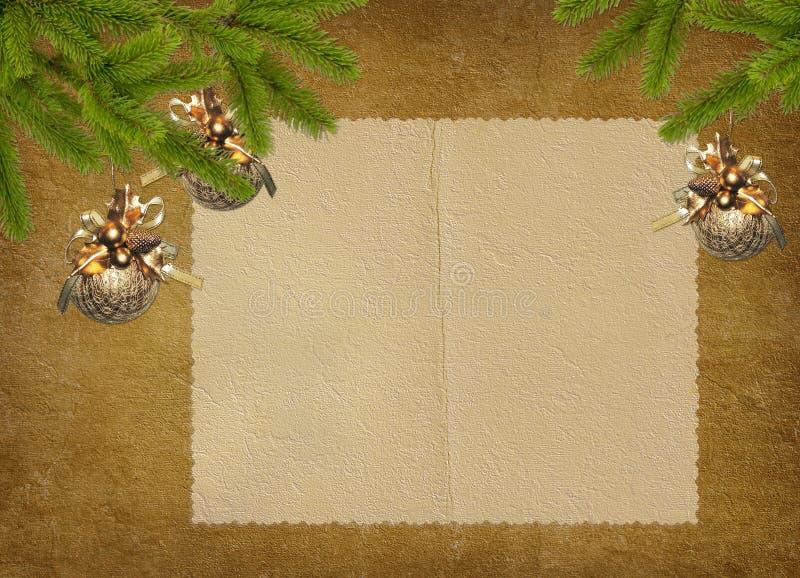 Uitstekende kaart voor de vakantie met takken royalty-vrije illustratie