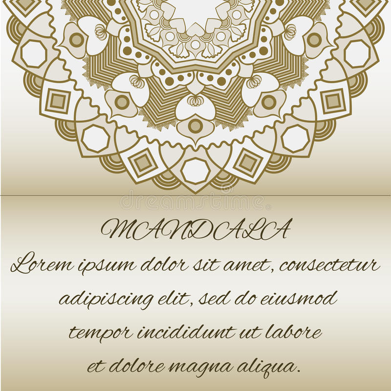 Uitstekende kaarten met Bloemenmandalapatroon en ornamenten royalty-vrije illustratie
