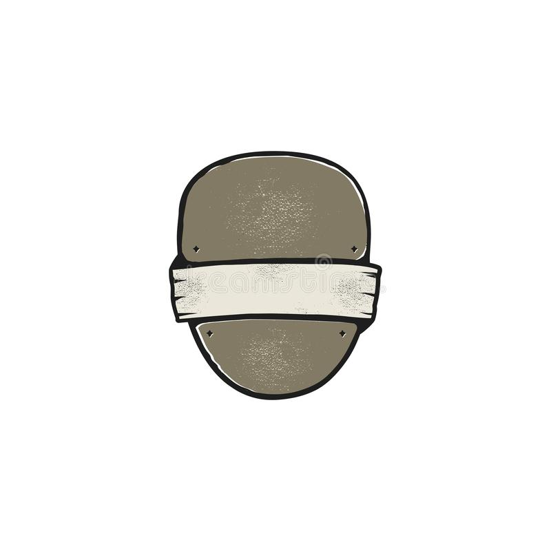 Uitstekende kader, vorm en vorm voor embleem, etiket, insignes Gebruik voor reis, het kamperen of andere emblemen Voorraadvector  stock illustratie