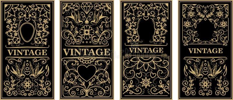 Uitstekende kaders in gouden stijl op donkere achtergrond stock illustratie