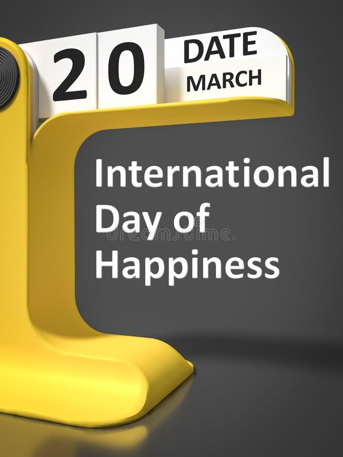 Uitstekende Kalender Internationale Dag van Geluk vector illustratie