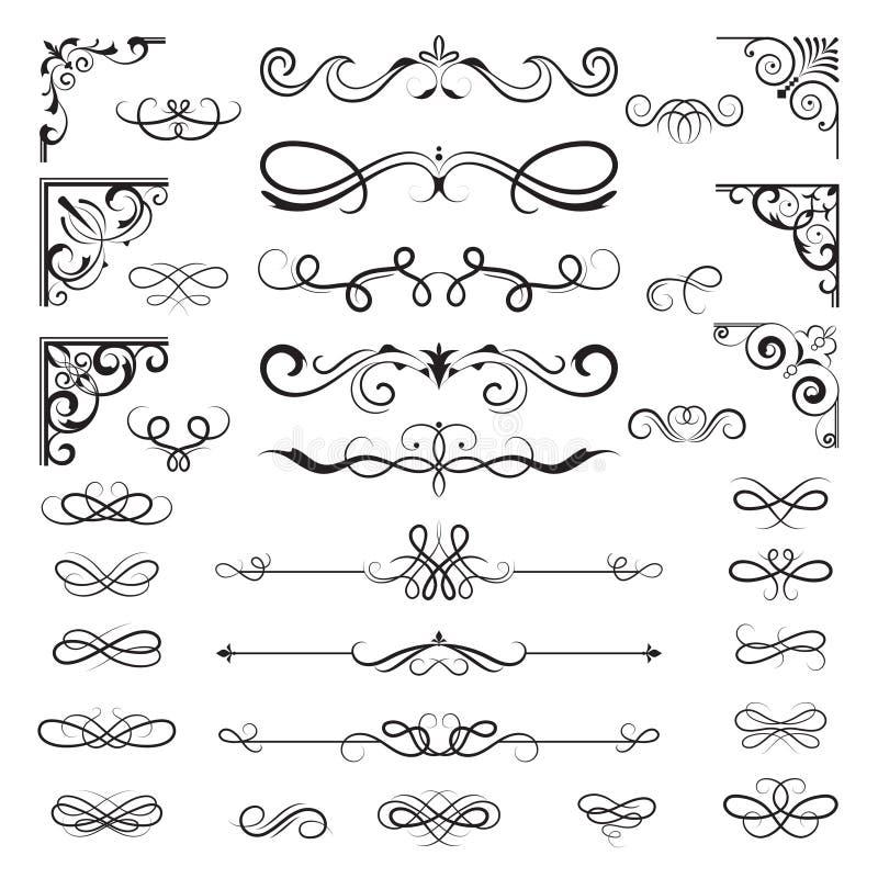 Uitstekende kalligrafische grenzen Bloemenverdelers en hoeken voor de overladen vectorelementen van decoratieontwerpen stock illustratie