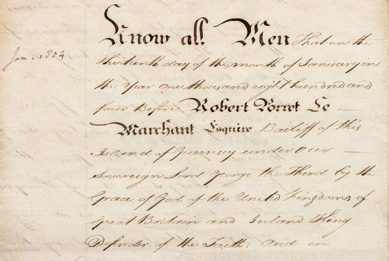 Uitstekende kalligrafische handschriftdocument textuurachtergrond stock fotografie