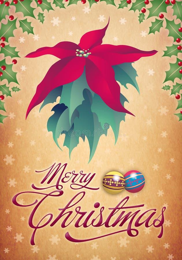 Uitstekende Kerstkaart - afficheontwerp stock illustratie