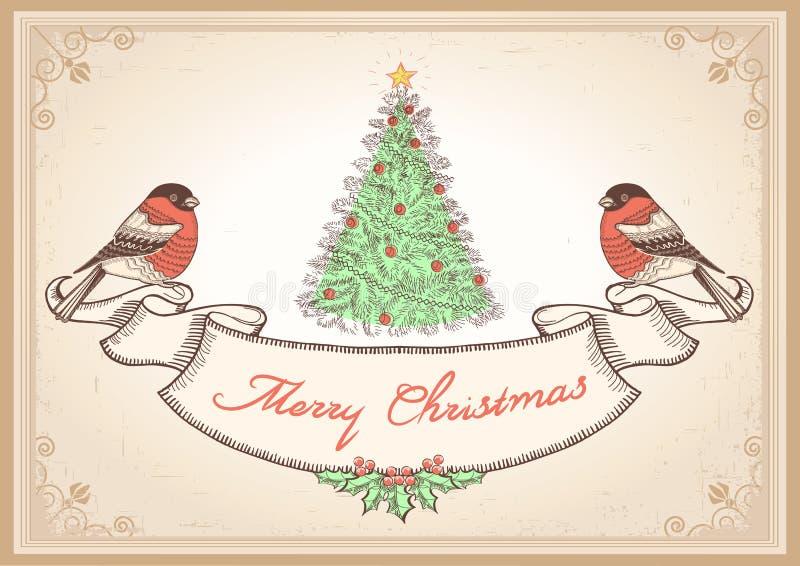 Uitstekende Kerstkaart met goudvinken. Zieke vector vector illustratie