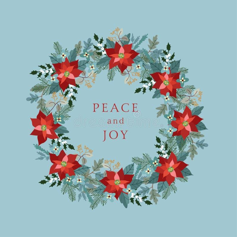 Uitstekende Kerstmis, de kaart van de Nieuwjaargroet, uitnodiging met illustratie van decoratieve bloemenkroon die van hulst, poi stock illustratie