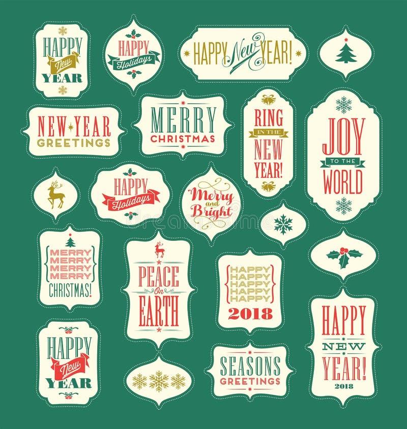 Uitstekende Kerstmis en Nieuwjaartypografieontwerpen stock illustratie