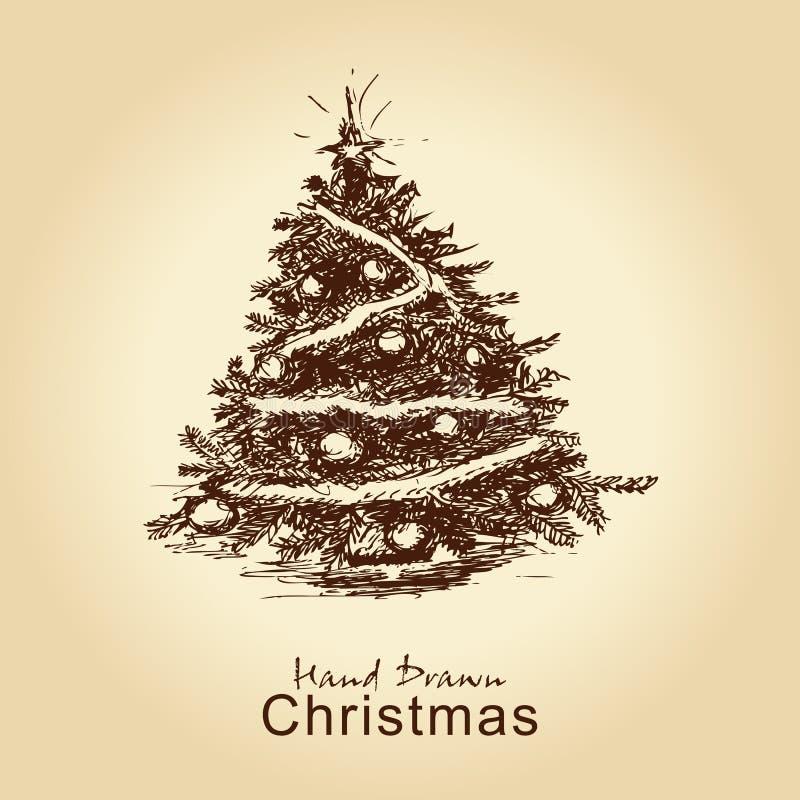 Uitstekende Kerstmisboom stock illustratie