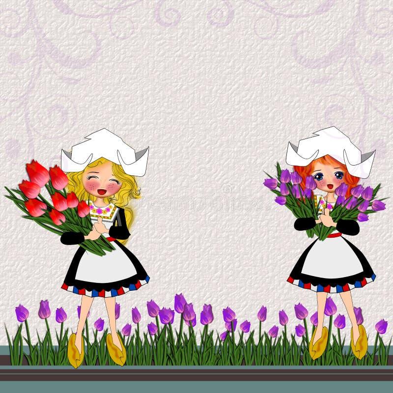 Uitstekende kinderen in het traditionele kostuum van Netherland vector illustratie
