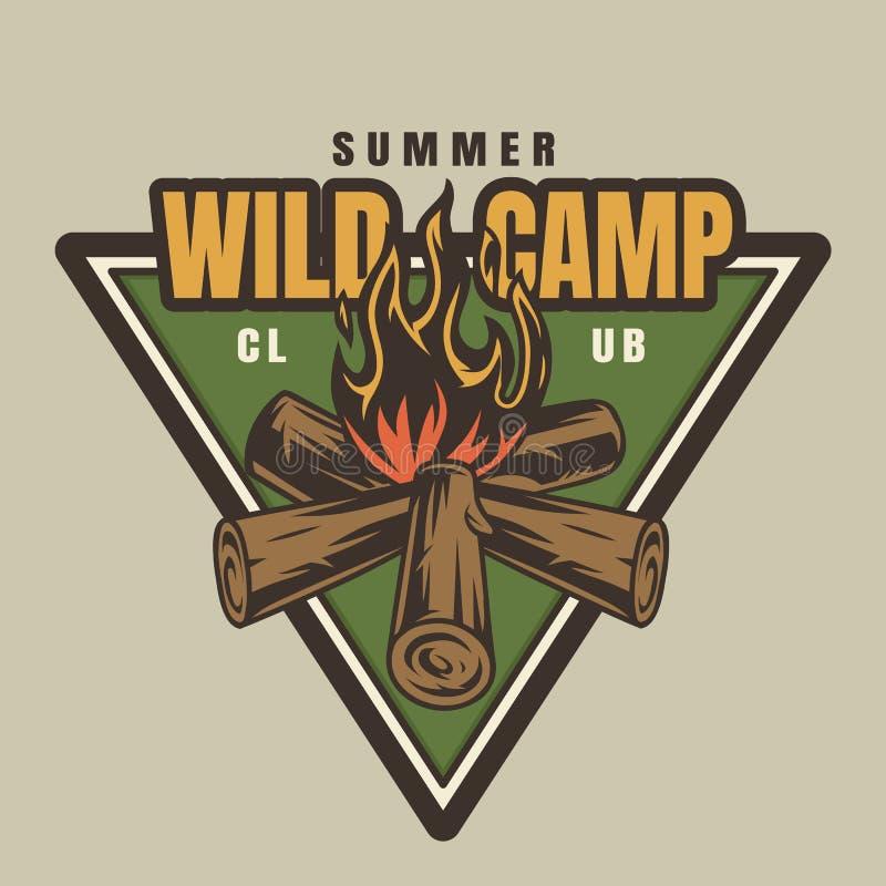 Uitstekende kleurrijke logotype van het de zomerkamp vector illustratie