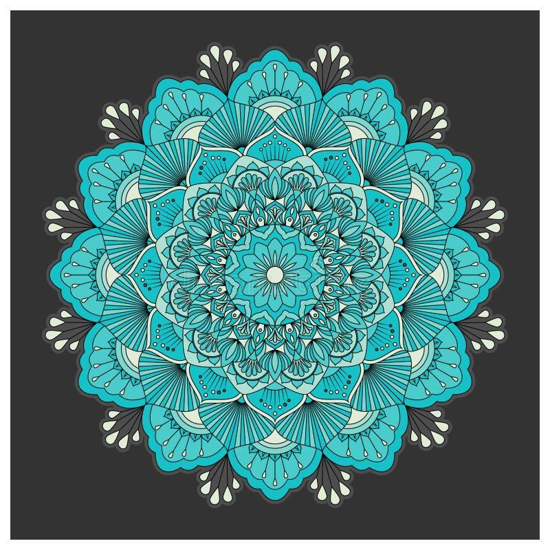 Uitstekende kleurrijke Mandala met bloemenornament vector illustratie