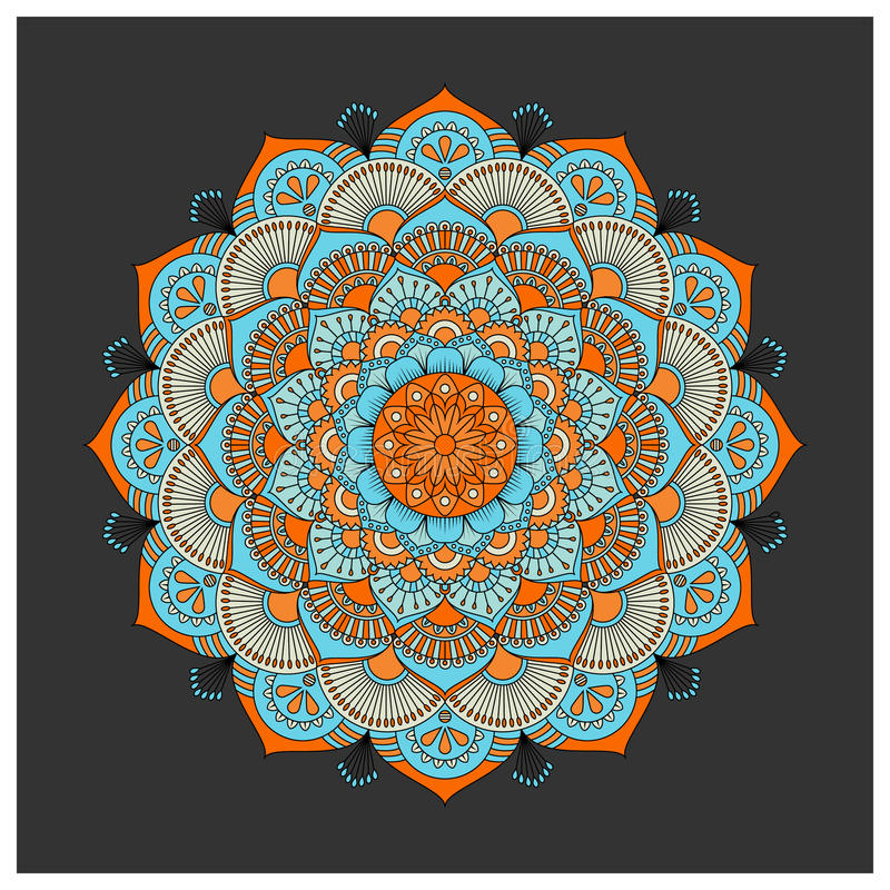 Uitstekende kleurrijke Mandala met bloemenornament royalty-vrije illustratie