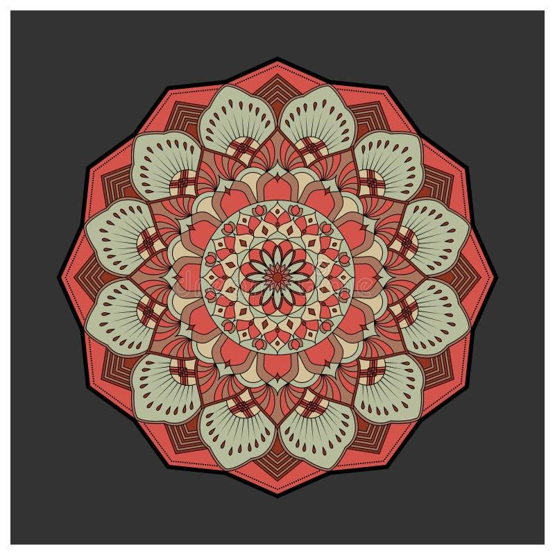 Uitstekende kleurrijke Mandala met bloemenornament stock illustratie