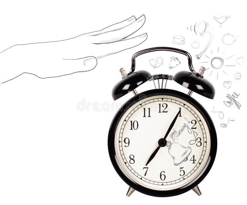 Uitstekende klok met de symbolen van de krabbelochtend royalty-vrije stock afbeelding