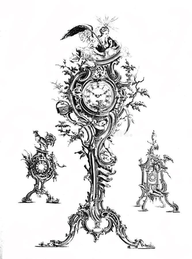 Uitstekende klokken geplaatst illustratie stock afbeelding