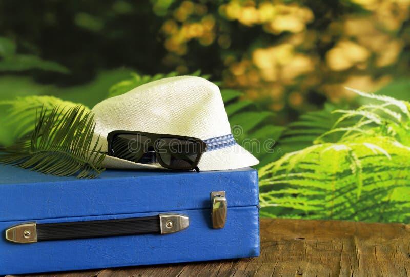 Uitstekende koffer, hoed, glazen - reis royalty-vrije stock afbeeldingen