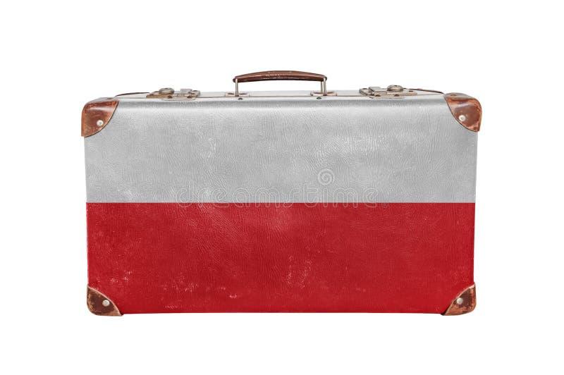 Uitstekende koffer met de vlag van Polen stock afbeeldingen