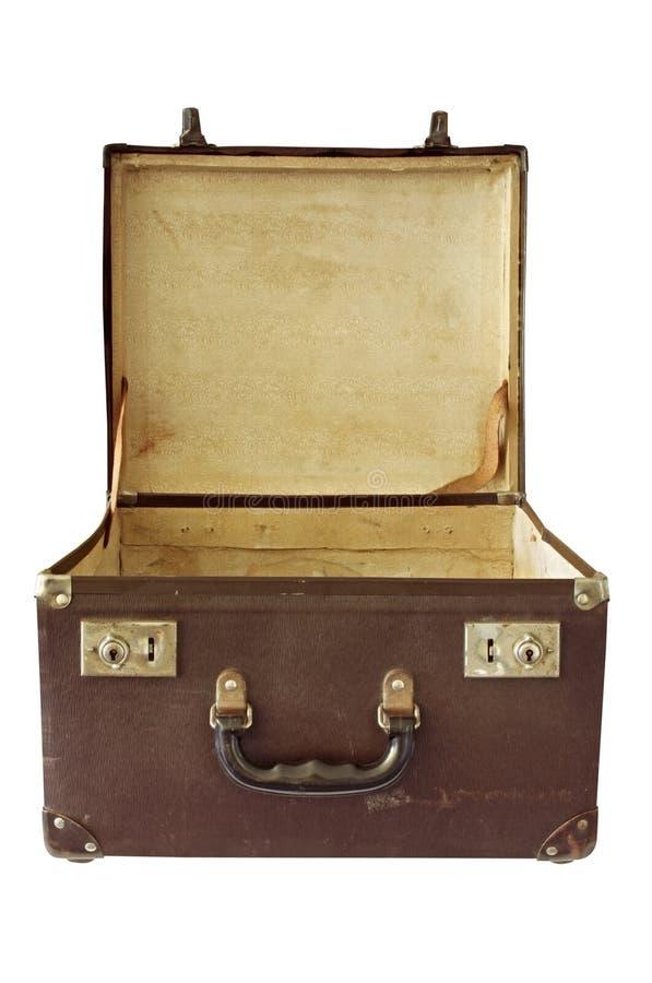 Uitstekende Koffer (met Weg) stock foto