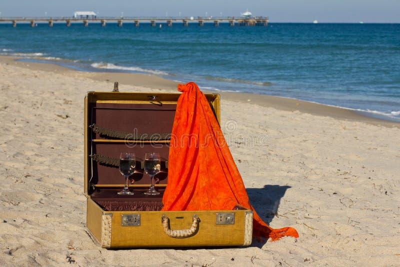 Uitstekende koffer op een strand royalty-vrije stock foto's