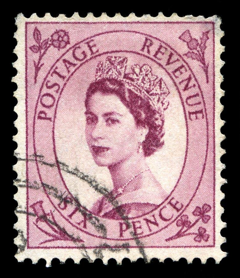 Uitstekende Koninginelizabeth ii Postzegel stock afbeelding