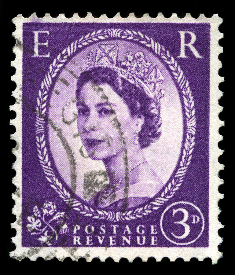 Uitstekende Koninginelizabeth ii Postzegel stock foto