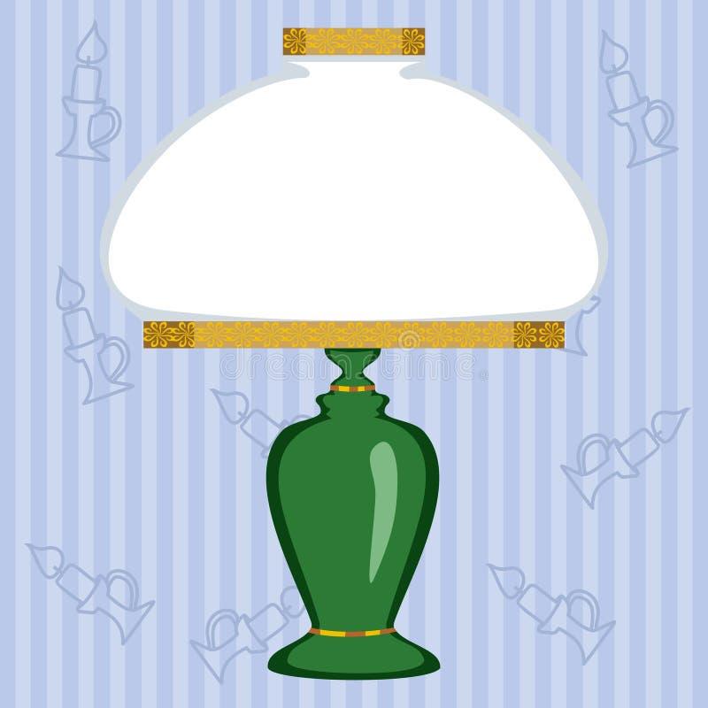 Uitstekende lamp met witte lampekap op gestreepte achtergrond vector illustratie