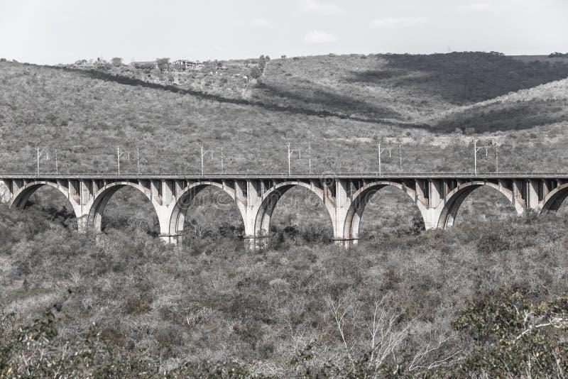 Uitstekende Landschap van de spoorweg het Trein Overspannen Brug royalty-vrije stock foto's