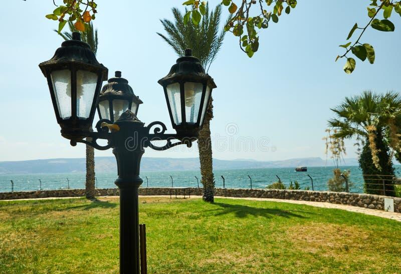 Uitstekende lantaarn, palmen, groen gras op het Overzees van Galilee stock fotografie