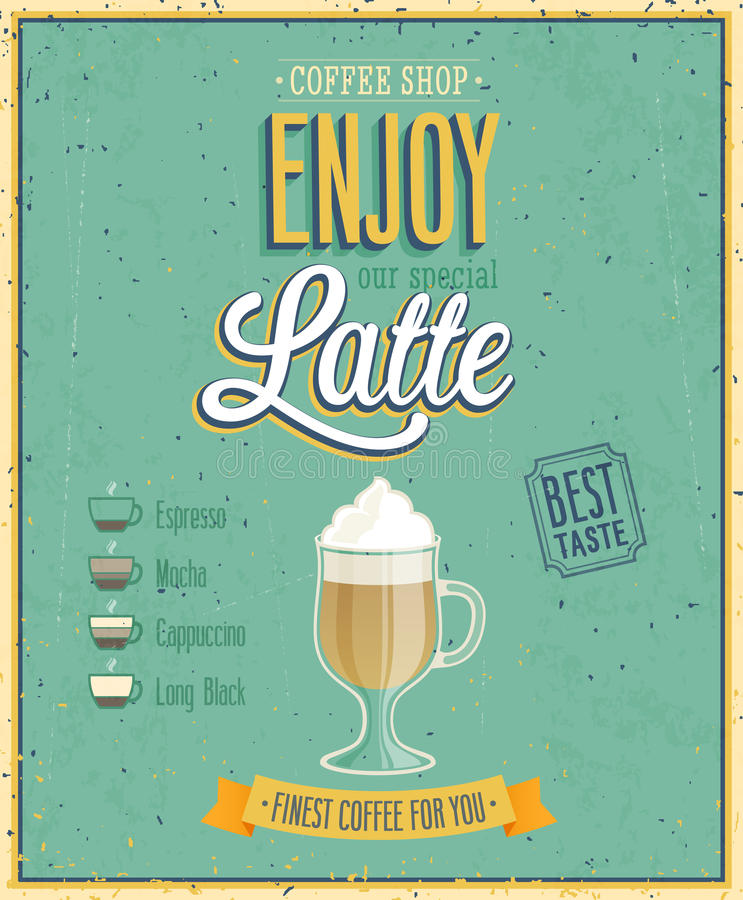 Uitstekende Latte-Affiche. stock illustratie