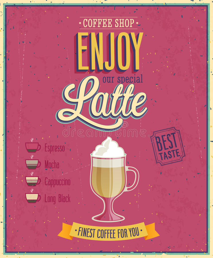 Uitstekende Latte-Affiche vector illustratie