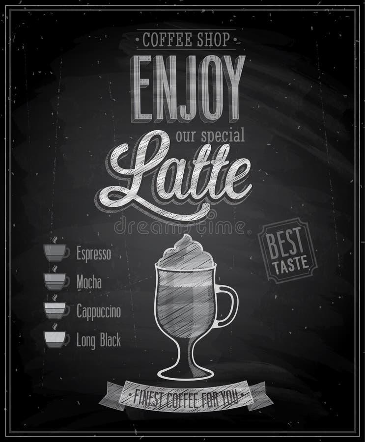 Uitstekende Latte-Affiche - Bord. royalty-vrije illustratie