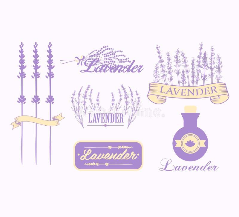 Uitstekende lavendelachtergrond, aromatherapy en kuuroord stock illustratie