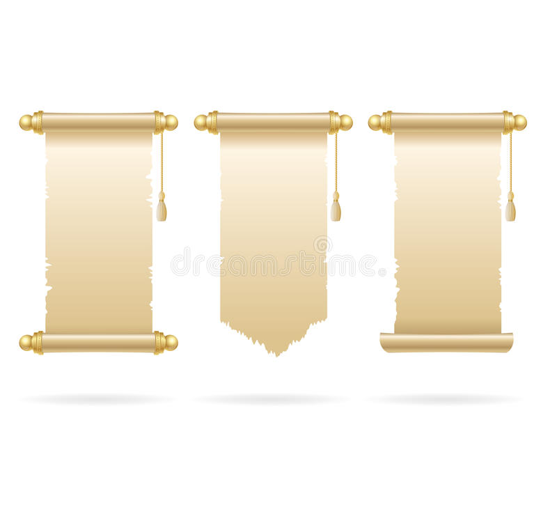 Uitstekende Lege Document Rolreeks Vector stock illustratie