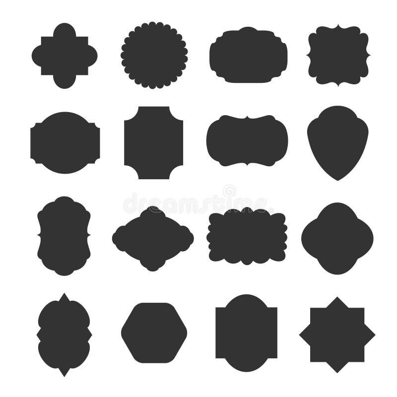 Uitstekende lege kaderskentekens voor emblemen en etiketten Beeldverhaal polair met harten royalty-vrije illustratie