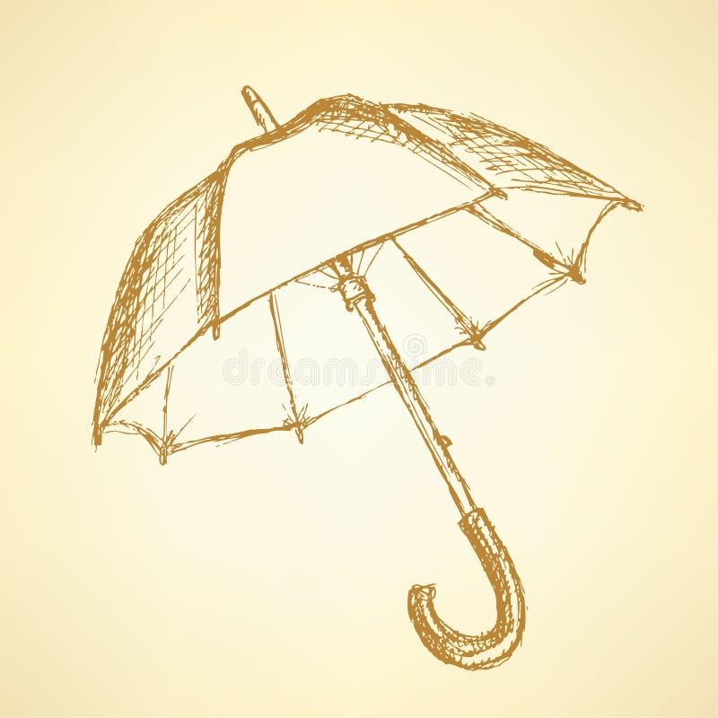 Uitstekende leuke open paraplu in stijl royalty-vrije illustratie