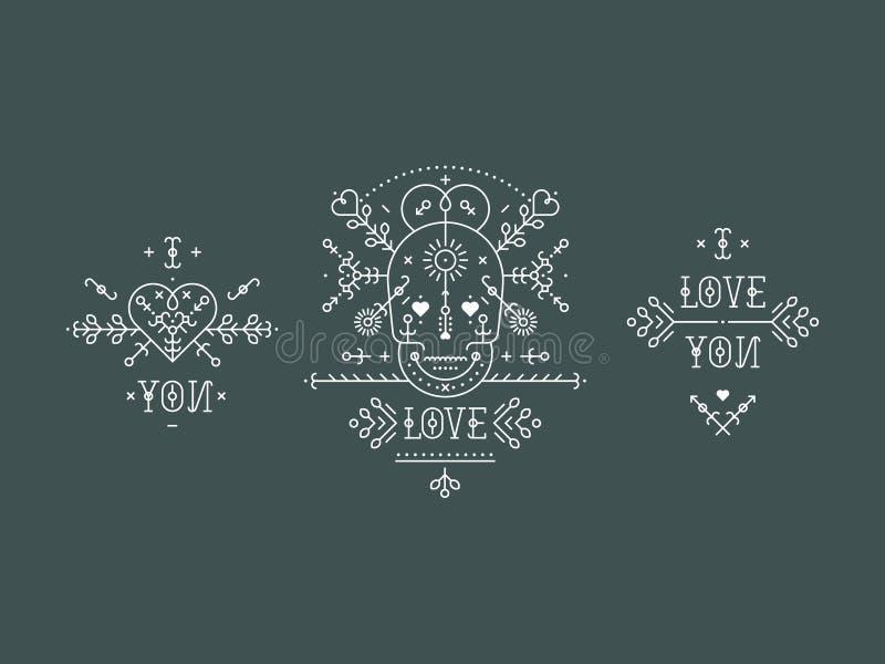 Uitstekende liefdeelementen royalty-vrije illustratie