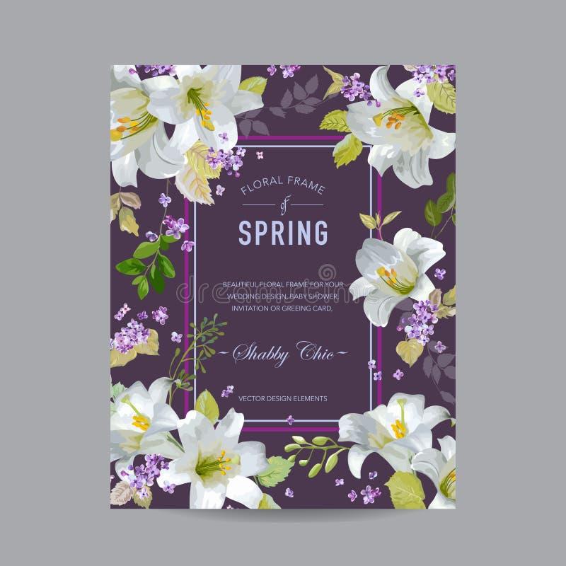 Uitstekende Lily Floral Colorful Frame royalty-vrije illustratie