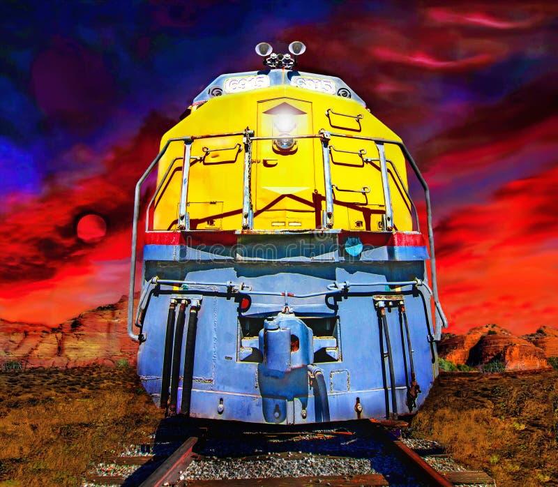 Uitstekende locomotief die het Nationale bos van Coconino kruisen royalty-vrije stock afbeelding