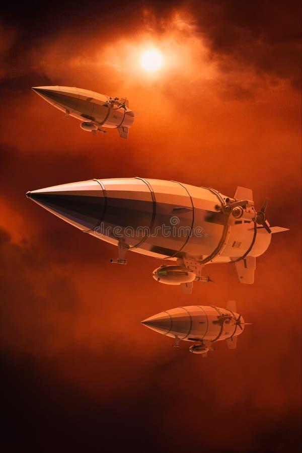 Uitstekende luchtschipzeppelin In de hemel 3D Illustratie royalty-vrije illustratie