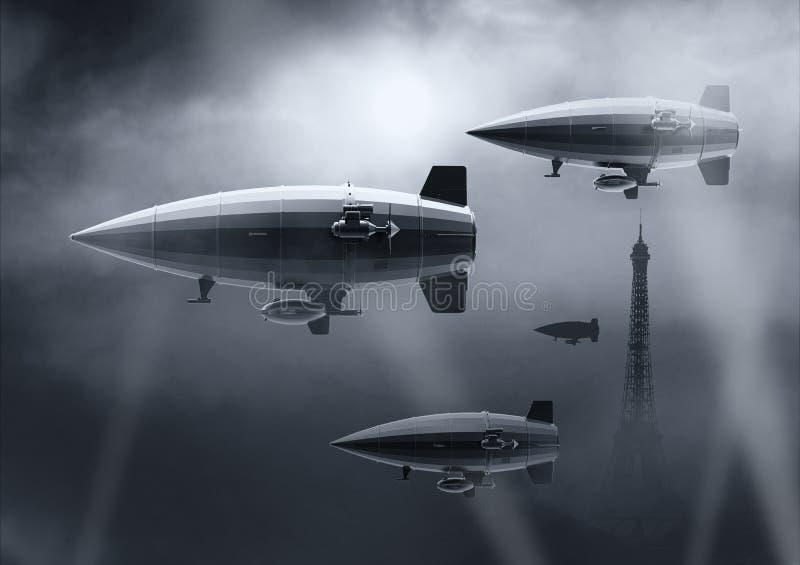 Uitstekende luchtschipzeppelin In de hemel 3D Illustratie stock illustratie