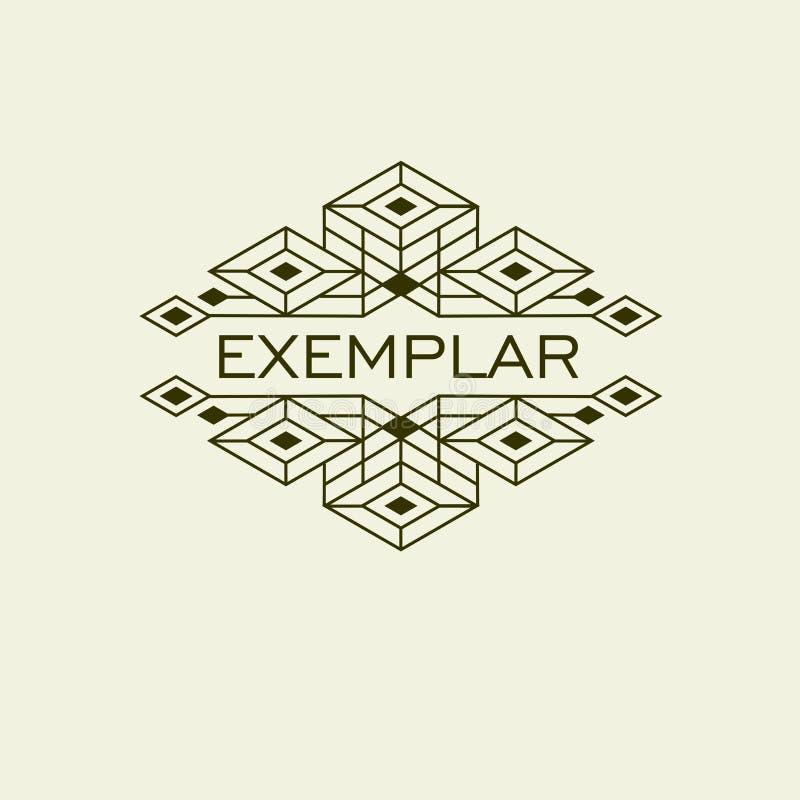 Uitstekende Luxe Antiek Art Deco Monochrome Flourishes Monogram Sierembleem Malplaatjeembleem vector illustratie