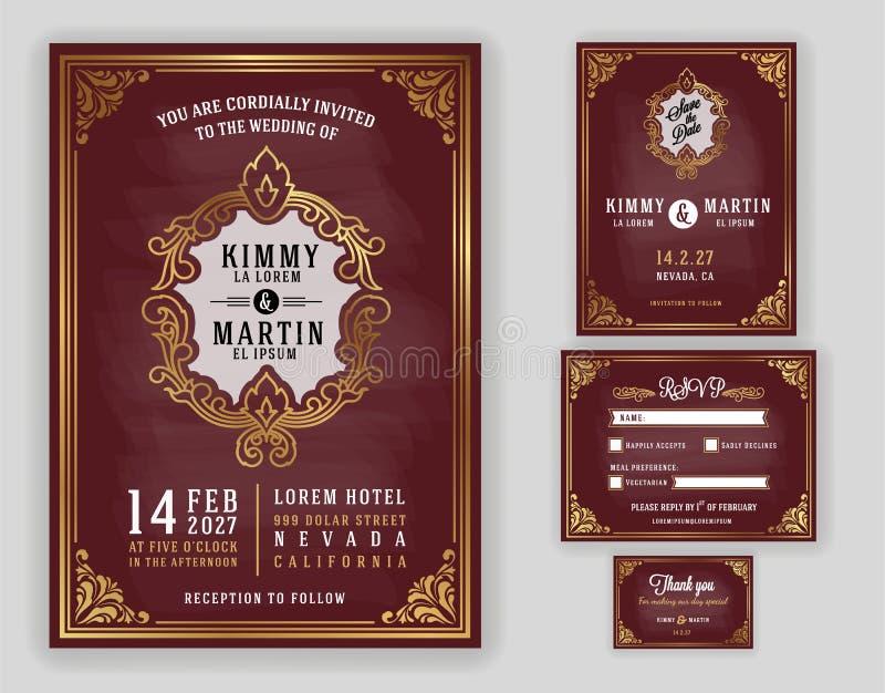 Uitstekende luxueuze huwelijksuitnodiging op bordachtergrond vector illustratie